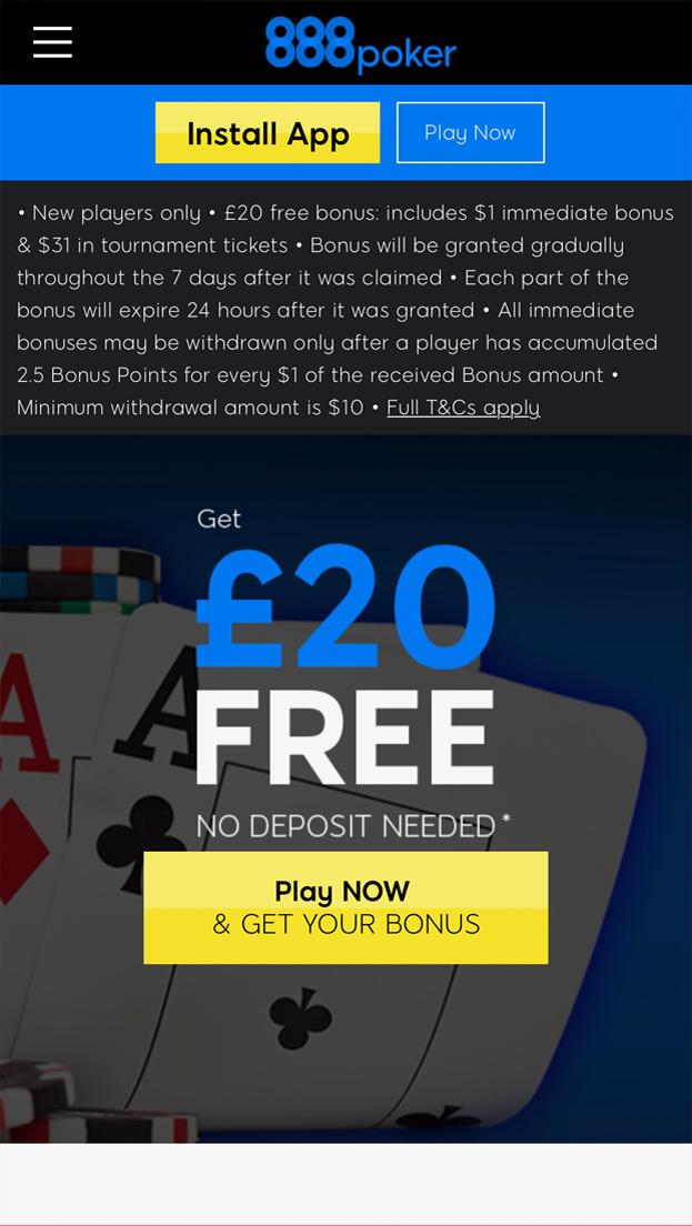 888 Poker Free Bet